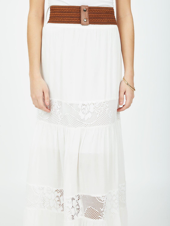 Belted Flounce Maxi Skirt