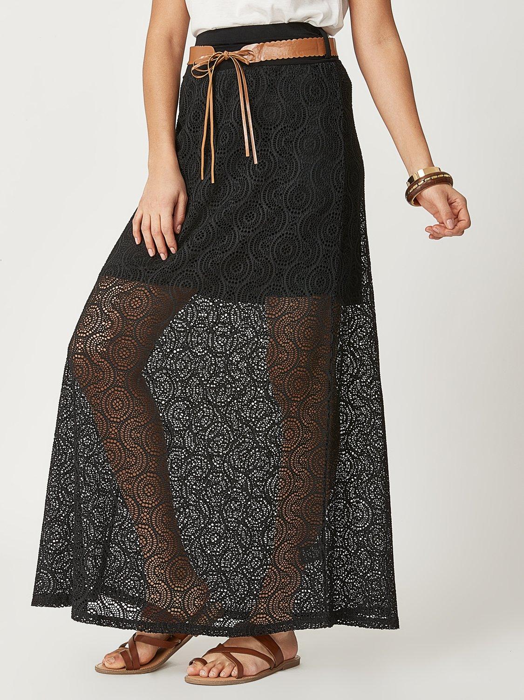 Wide Waistband Belted Maxi Skirt