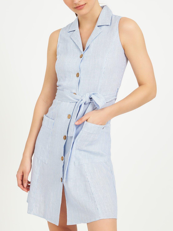 Sleeveless Linen Blend Shirt Dress