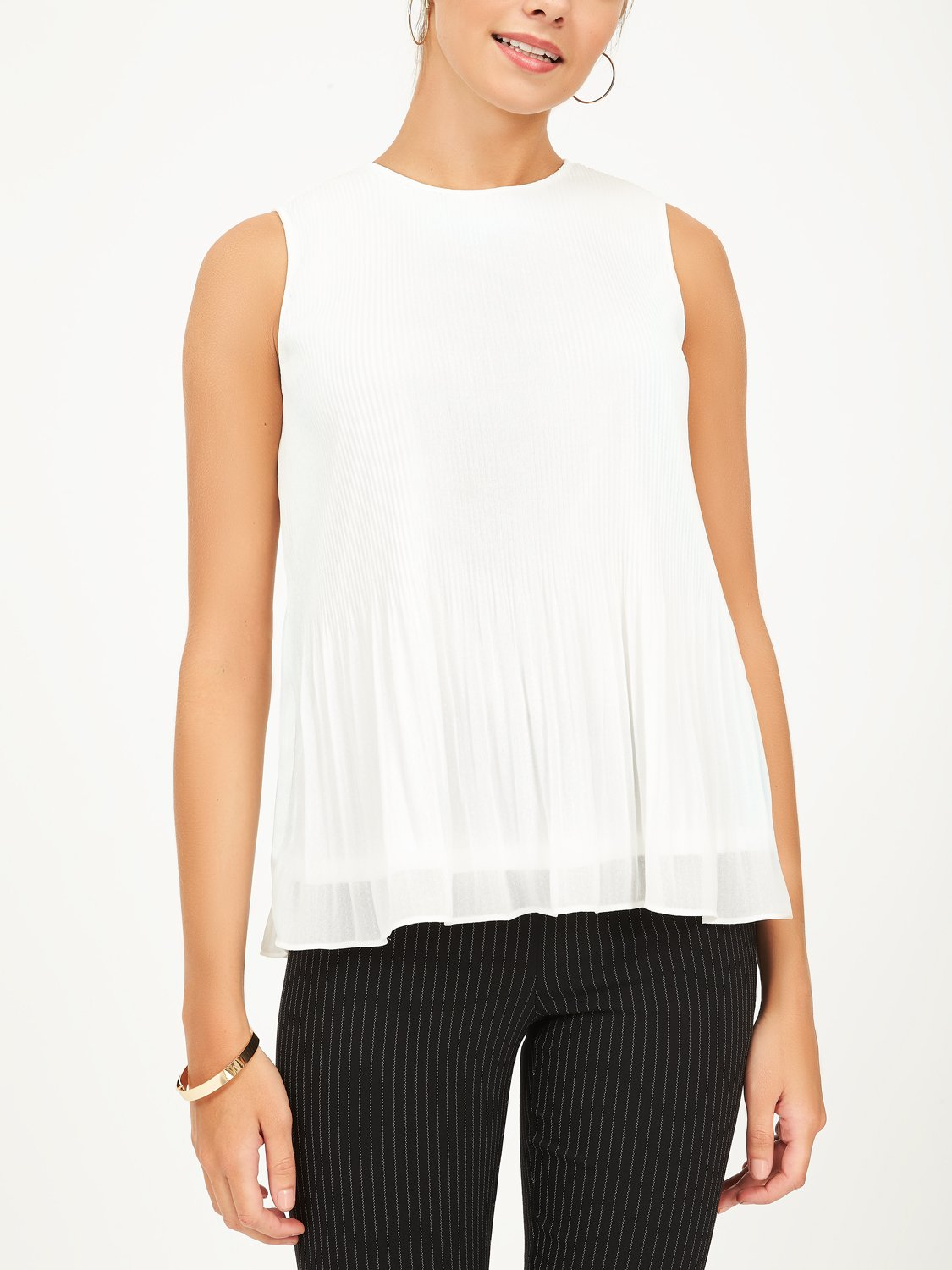Copy of Pleated Chiffon Blouse with Round Neck