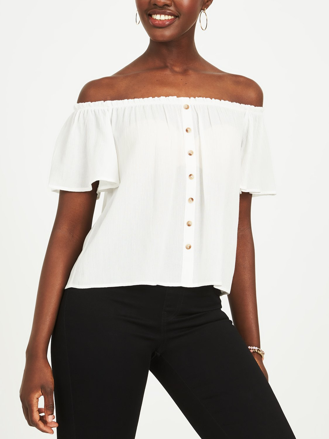 Copy of Off-The-Shoulder Woven Blouse