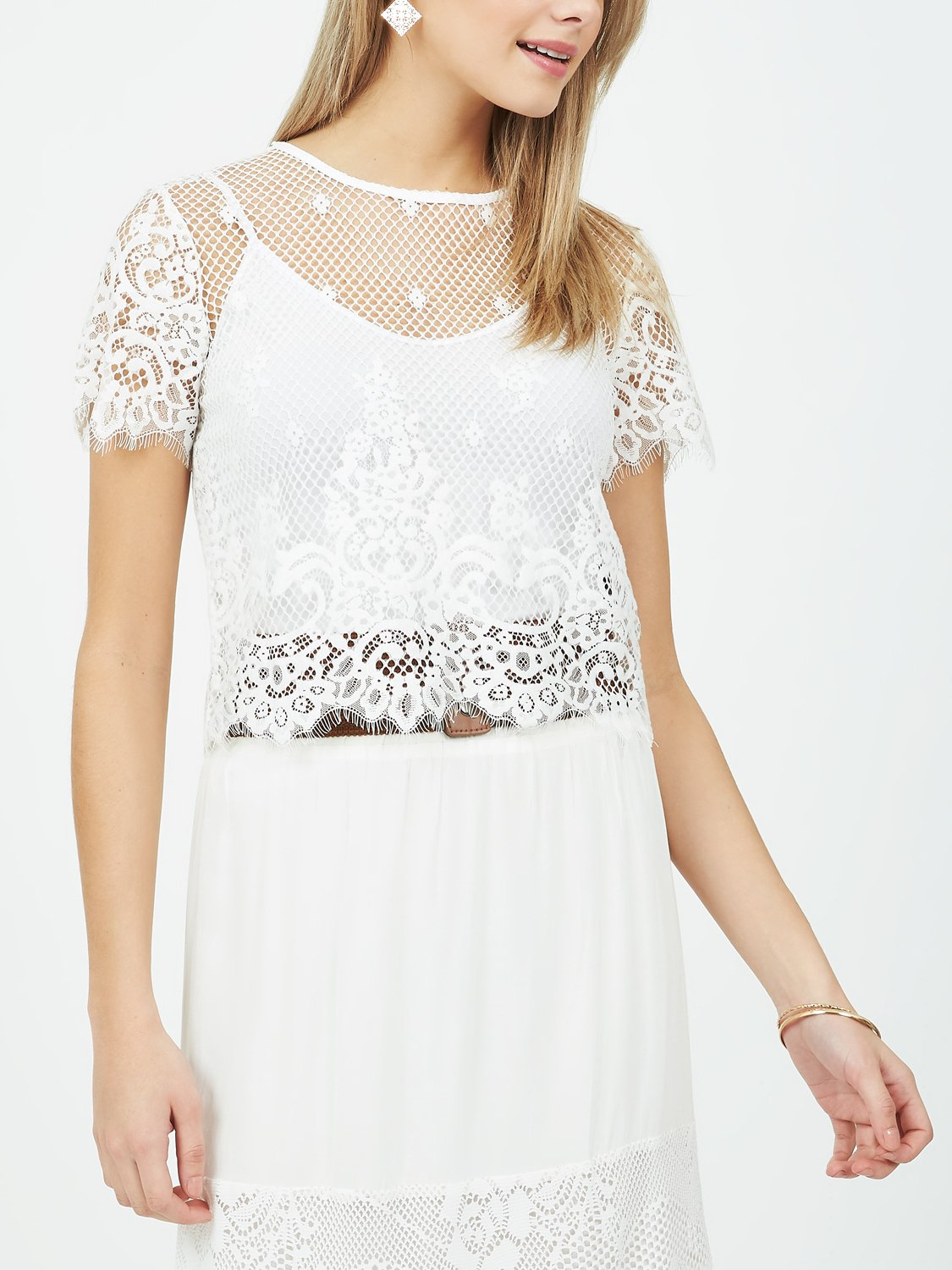 Copy of Fishnet Scalloped Lace T-Shirt