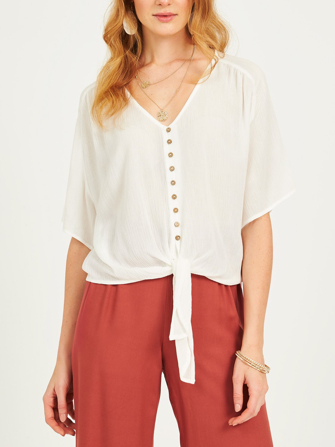 Copy of V-Neck Button front Blouse with Tie