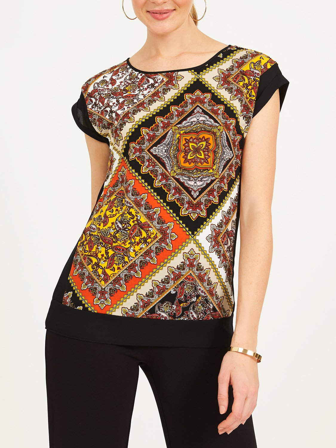 Copy of Patchwork Print Chiffon Top