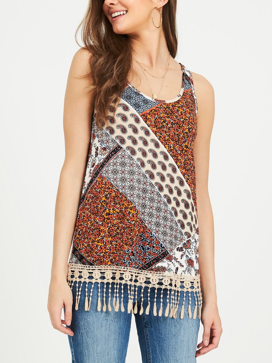 Copy of Patchwork Print Jersey Tank Top