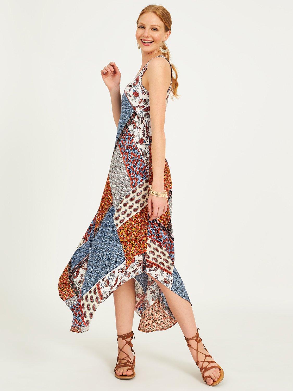 Scoop Neck Patchwork Print Midi Dress
