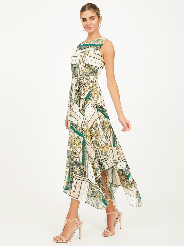 Patchwork Print Handkerchief Hem Dress