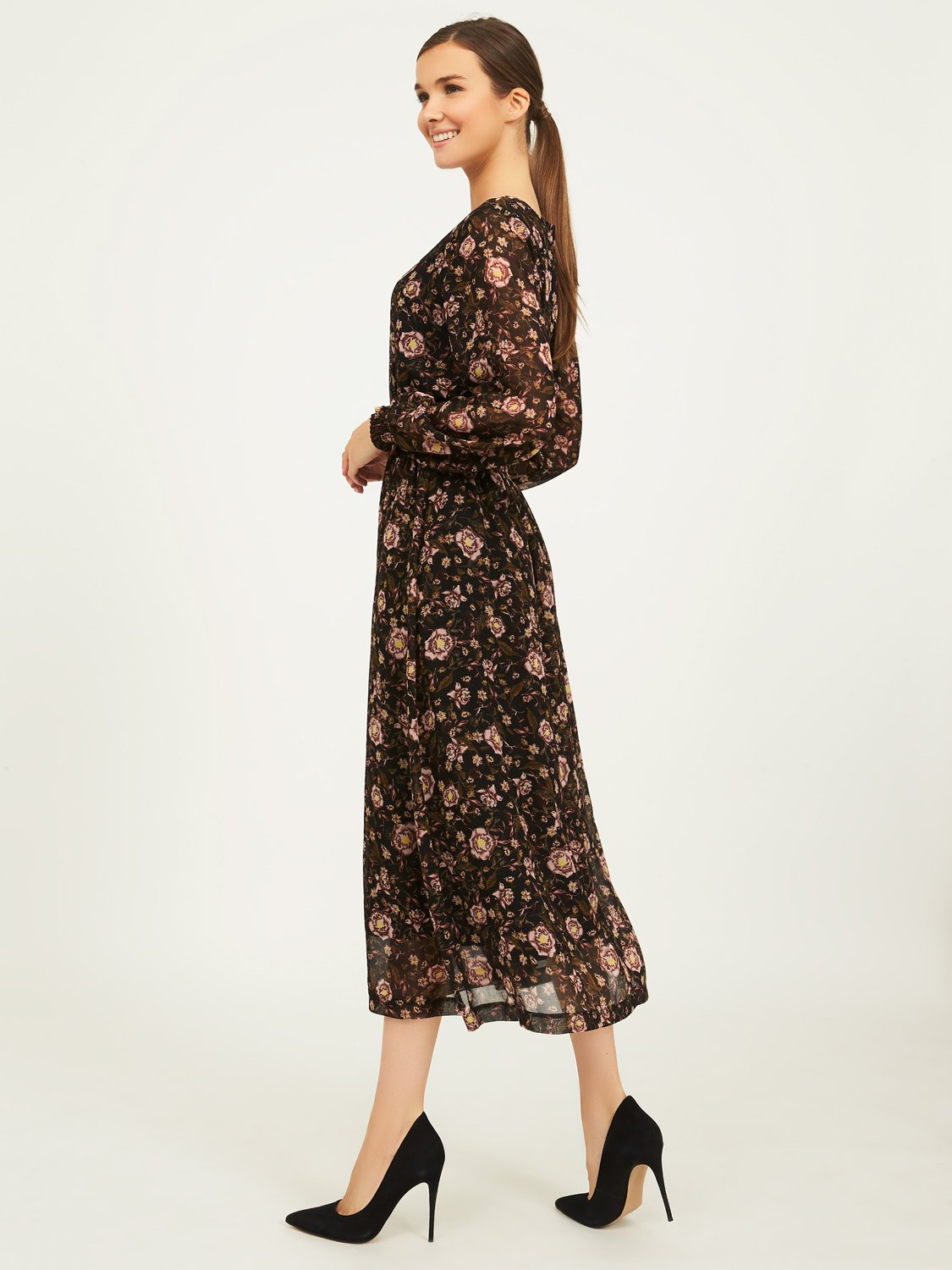 Floral Boat Neck Midi Dress