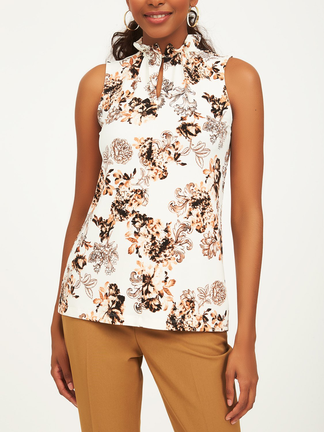 Sleeveless Floral Crepe Top