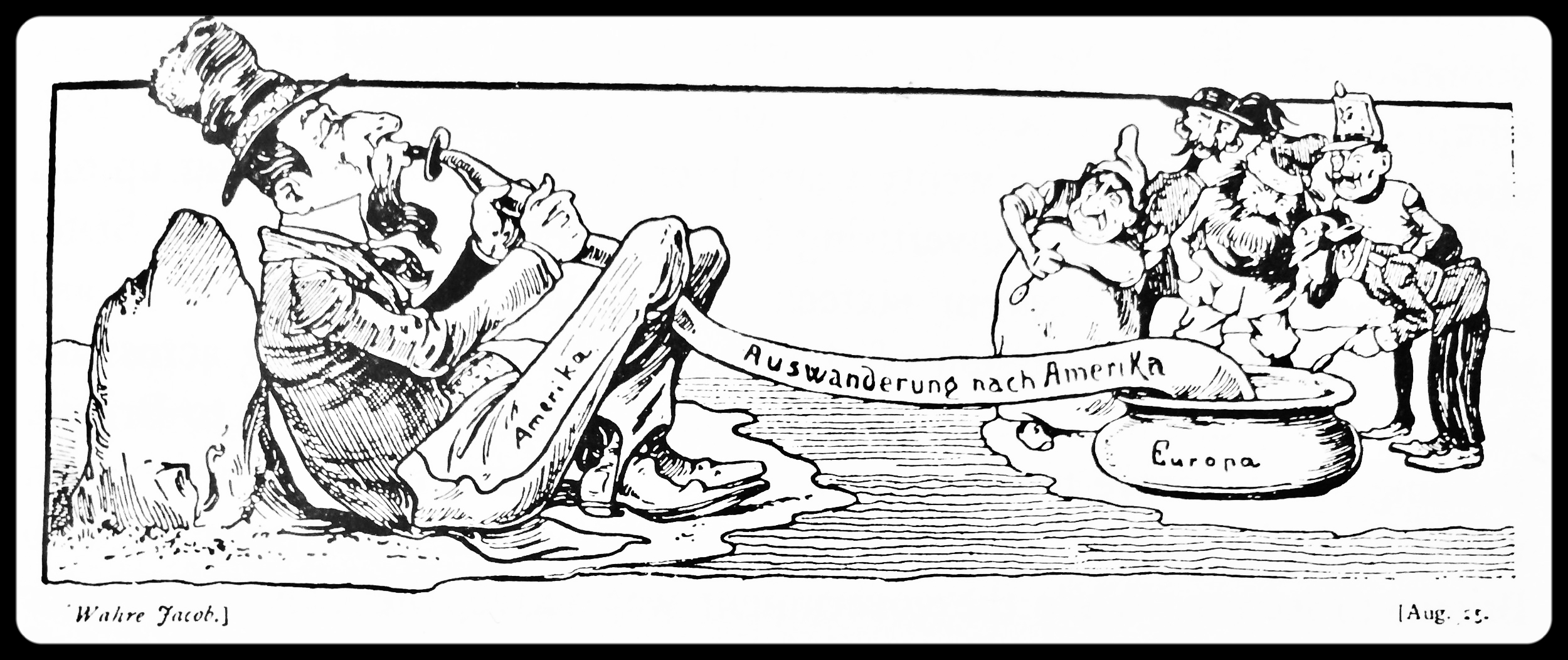 """In 1885, the progressive satirical magazine Der Wahre Jacob (""""the honest Jacob"""") published this cartoon depicting Uncle Sam nourishing himself on European immigrants. To this very day, such an interpretation provides the dominant framework for understanding the nineteenth century migrations to the Americas"""