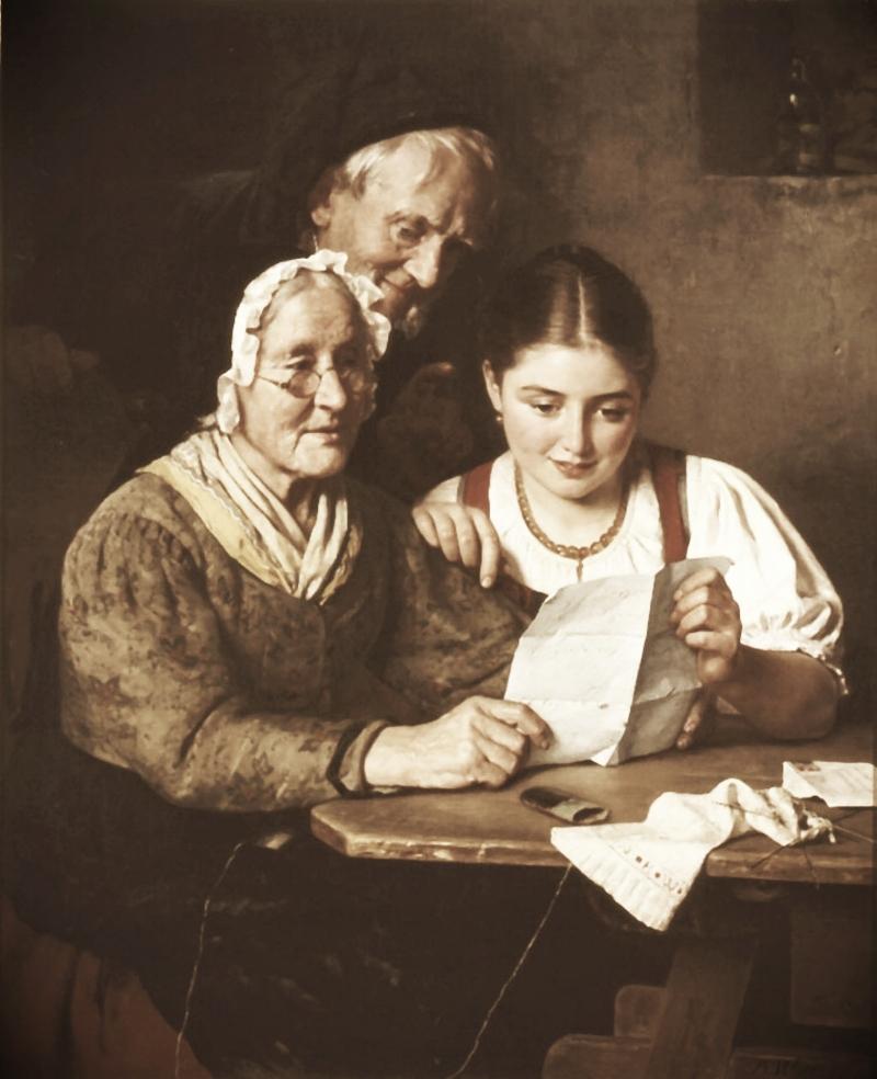 Ein Brief aus Amerika. Oil on canvas by Berthold Woltze (ca 1860).