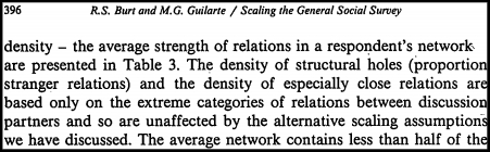 """The first use of the term """"structural hole"""" that I could find is in a 1986 article Burt co-authored with Miguel Guilarte, titled """" A Note on Scaling the General Social Survey Network Item Response Categories ."""" His more well-known book,Structural Holes: The Social Structure of Competition, was first published in 1992."""