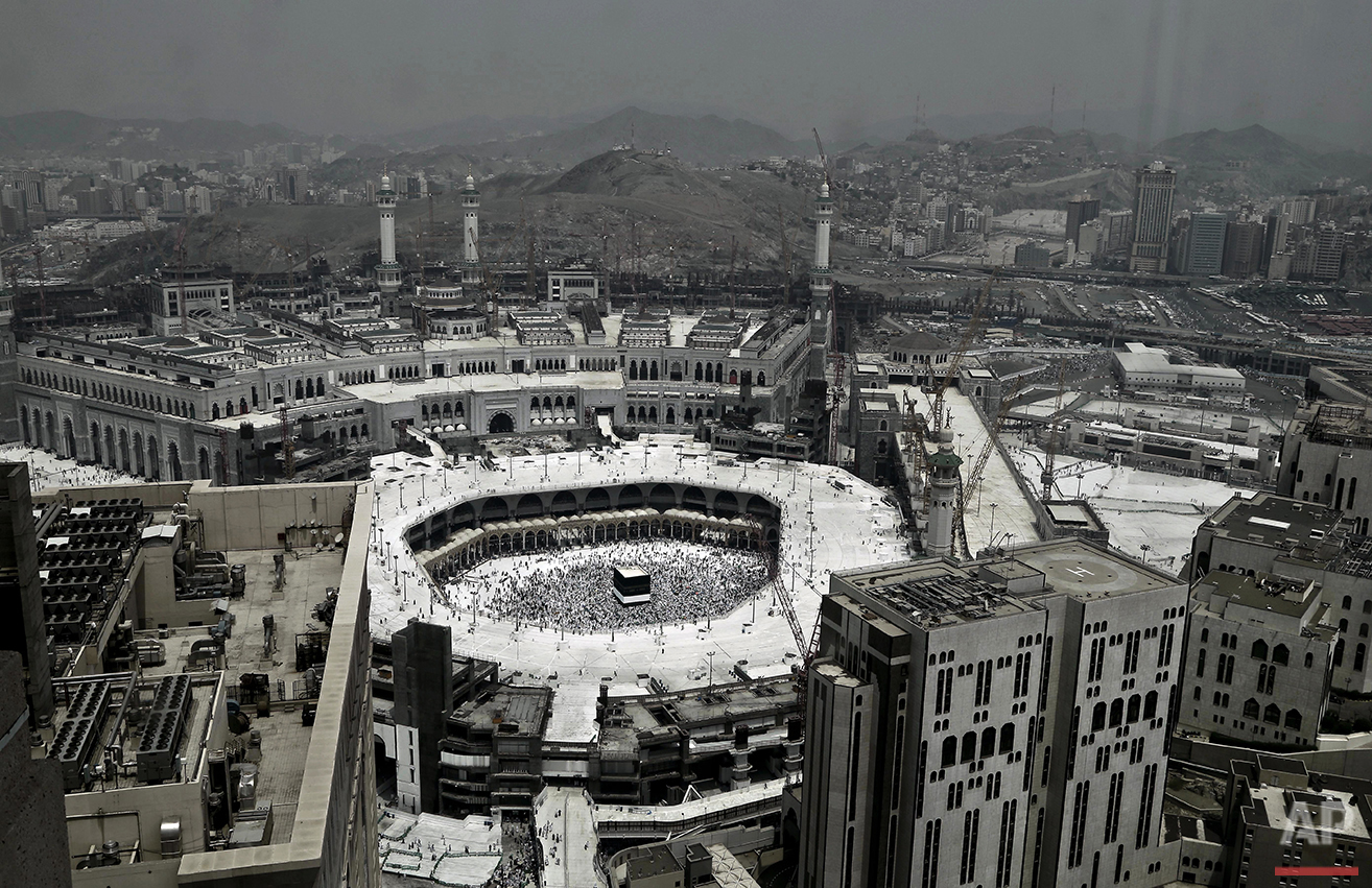 Muslim pilgrims circle the Kaaba, Islam's holiest shrine, at the Grand Mosque in the Muslim holy city of Mecca, Saudi Arabia, Wednesday, Sept. 7, 2016. Millions of pilgrims have arrived to Mecca ahead of the Hajj annual pilgrimage which begins Saturday, Sept. 10, 2016. (AP Photo/Nariman El-Mofty)