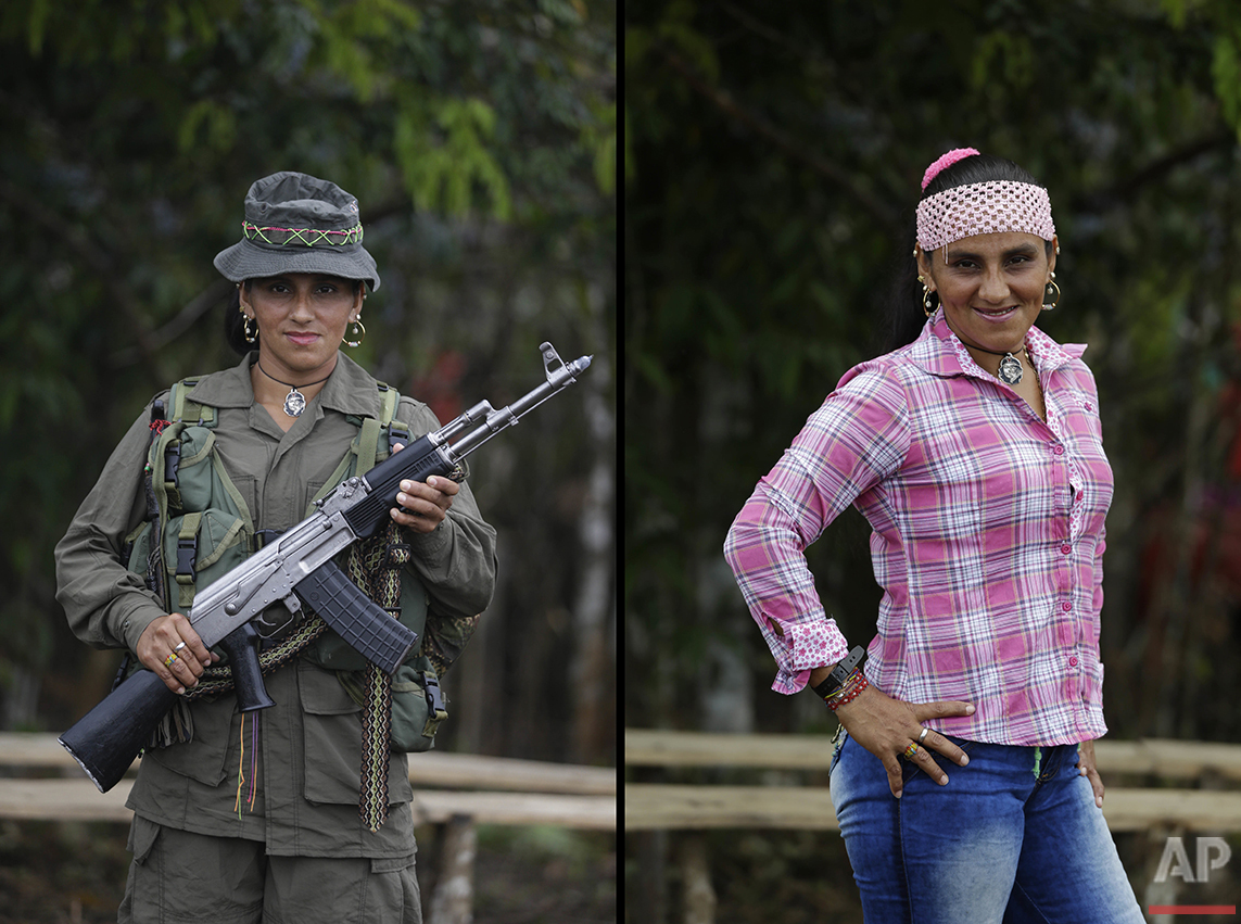 Rubiela, a rebel of 49th front of the Revolutionary Armed Forces of Colombia, FARC, poses at a camp in the southern jungles of Putumayo, Colombia, Monday, Aug. 15, 2016. Rubiela said she is 32 and has spent ten years in the FARC, and would like to study dentistry after the signing of a peace deal with the Colombian government. (AP Photo/Fernando Vergara)