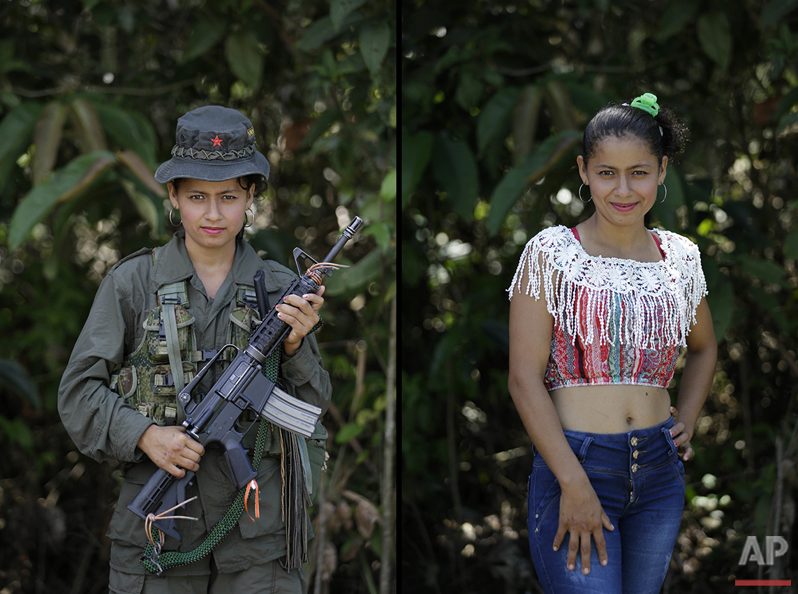 This Aug. 16, 2016 photo shows two portraits of Mayerli, one of her holding a weapon while in her uniform for the Revolutionary Armed Forces of Colombia (FARC) 32nd front, and in civilian clothing at a guerrilla camp in the southern jungle of Putumayo, Colombia. Mayerli, 18, said she has spent four years with the FARC and would like to study nursing after demobilizing as part of a peace deal with Colombia's government. An Oct. 2 national referendum will give voters the chance to approve the deal for ending a half-century of political violence that has claimed hundreds of thousands of lives and driven millions from their homes. (AP Photo/Fernando Vergara)
