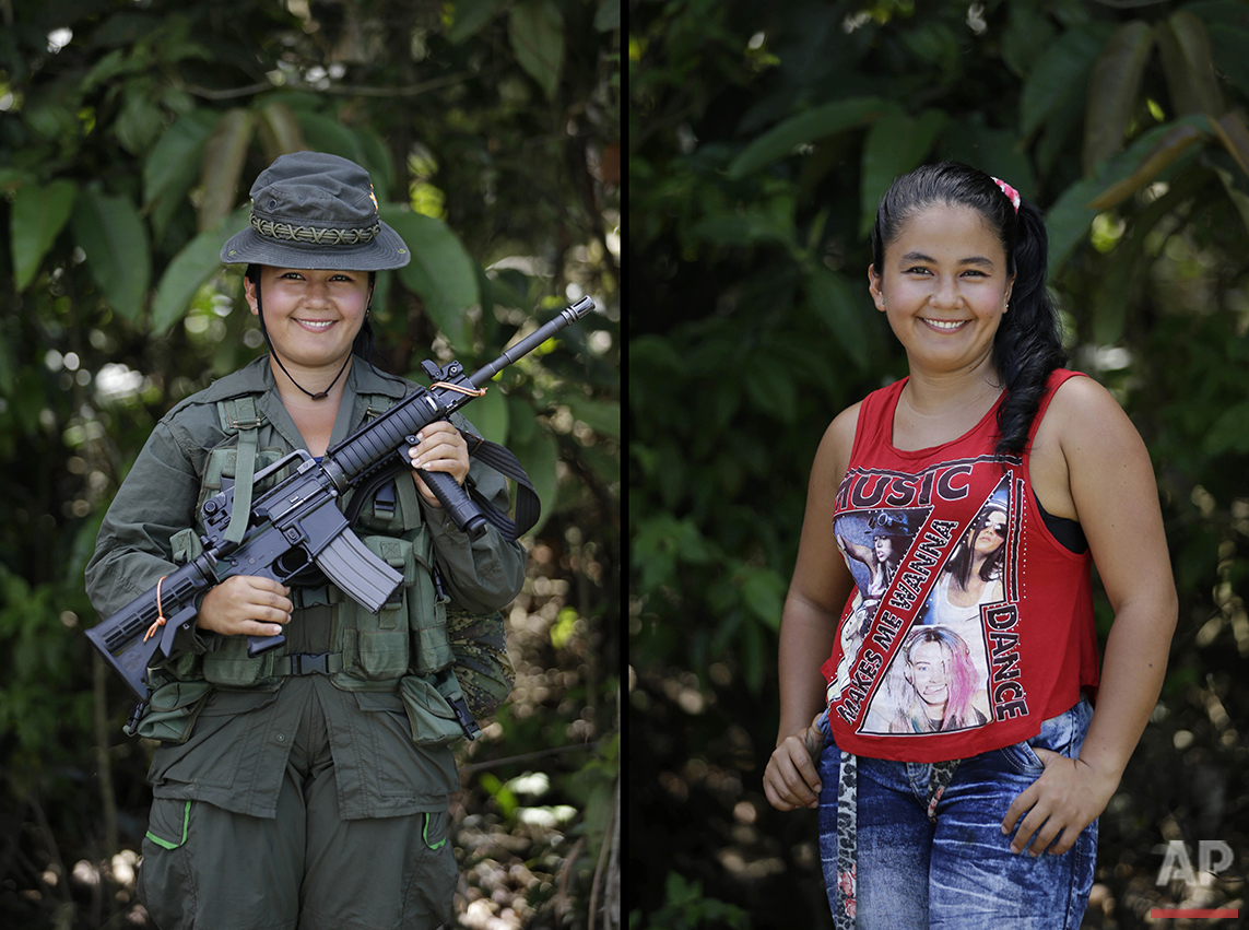 Yuri Renteria, a rebel of 32nd front of the Revolutionary Armed Forces of Colombia, FARC, poses at her camp in the southern jungles of Putumayo, Colombia, Tuesday, Aug. 16, 2016. She said she is 18 and has been with the FARC four years, would like to study engineering systems after she demobilizes as part of the peace agreement with the Colombia's government. (AP Photo/Fernando Vergara)
