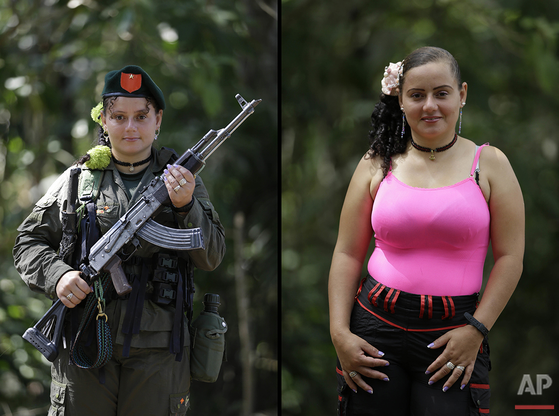 Diana Marcela, a rebel of 48th front of the Revolutionary Armed Forces of Colombia, FARC, poses at a camp in the southern jungles of Putumayo, Colombia, Saturday, Aug. 13, 2016. Marcela said she is 28, that has spent thirteen years in the FARC and would like to finish high school and study photography after demobilizing as part of the peace agreement with the Colombia's government. (AP Photo/Fernando Vergara)