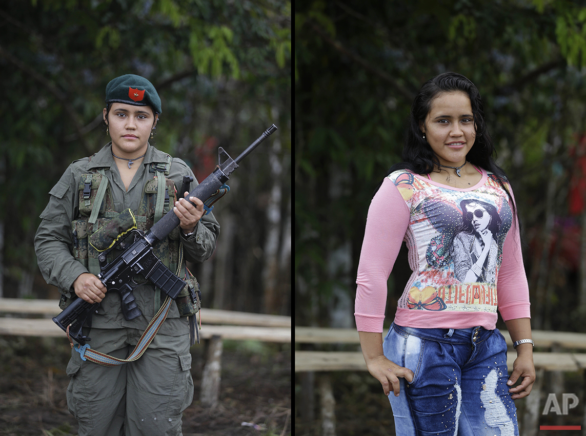 Sofia, a rebel of 49th front of the Revolutionary Armed Forces of Colombia, FARC, poses for a photo at her camp in the southern jungles of Putumayo, Colombia, Monday, Aug. 15, 2016. Sofia said she is 19 and has spent six years with the FARC, and that would like to study law after the signing of a peace deal with the Colombian government. (AP Photo/Fernando Vergara)
