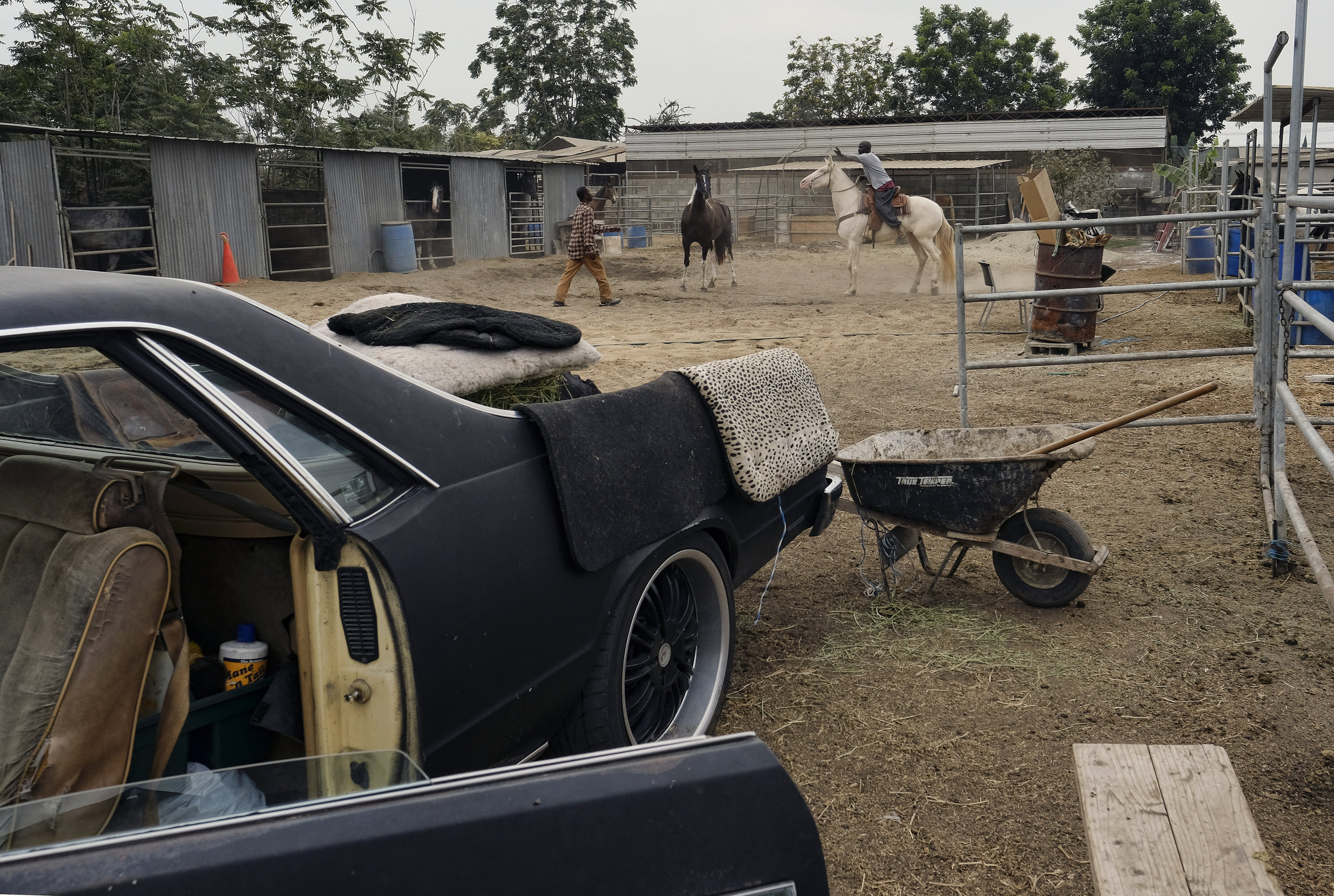 Ivory McCloud, right, and Mike Jones work with horses at their stable in the backyard of a house in Compton, Calif., on Sunday, Aug. 7, 2016. Hundreds of people keep horses in backyards in this agriculturally-zoned Richland Farms neighborhood and ride them on the streets around town, as well as at rodeos and other equestrian competitions across the country. (AP Photo/Richard Vogel)