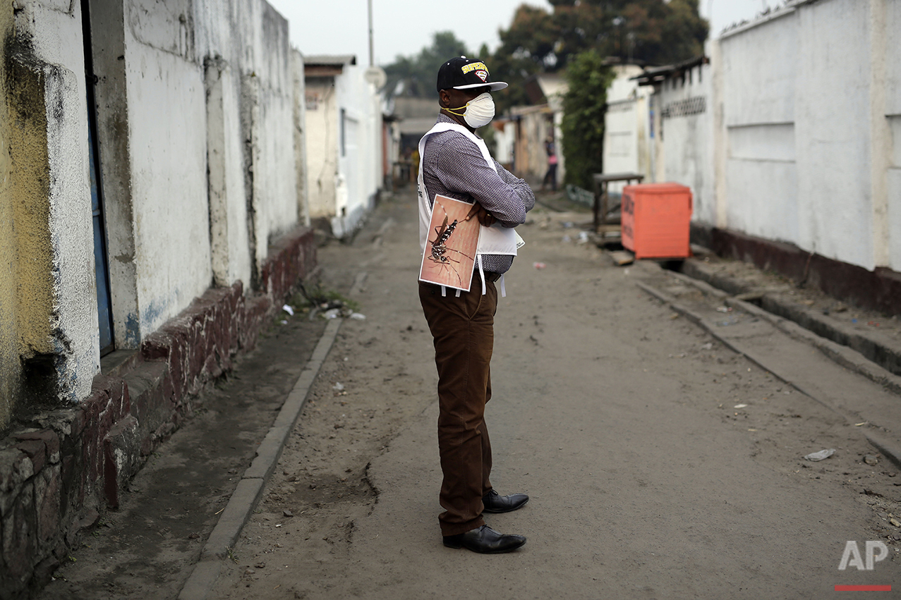 A member of a Doctors Without Borders (MSF) team holds a photo of a mosquito during fumigation efforts in the Yolo Sud neighborhood of Kinshasa, Congo, on Friday, July 22, 2016. The yellow fever virus is transmitted by the Aedes aegypti mosquito and kills about 15 to 50 percent of those sickened by it. (AP Photo/Jerome Delay)