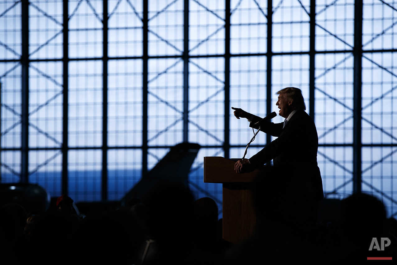 Republican presidential candidate Donald Trump speaks during a campaign rally at Wings Over the Rockies Air and Space Museum, Friday, July 29, 2016, in Denver. (AP Photo/Evan Vucci)