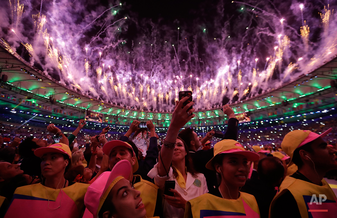 Pyrotechnics light up the sky during the opening ceremony for the 2016 Summer Olympics in Rio de Janeiro, Brazil, Saturday, Aug. 6, 2016. (AP Photo/David Goldman)