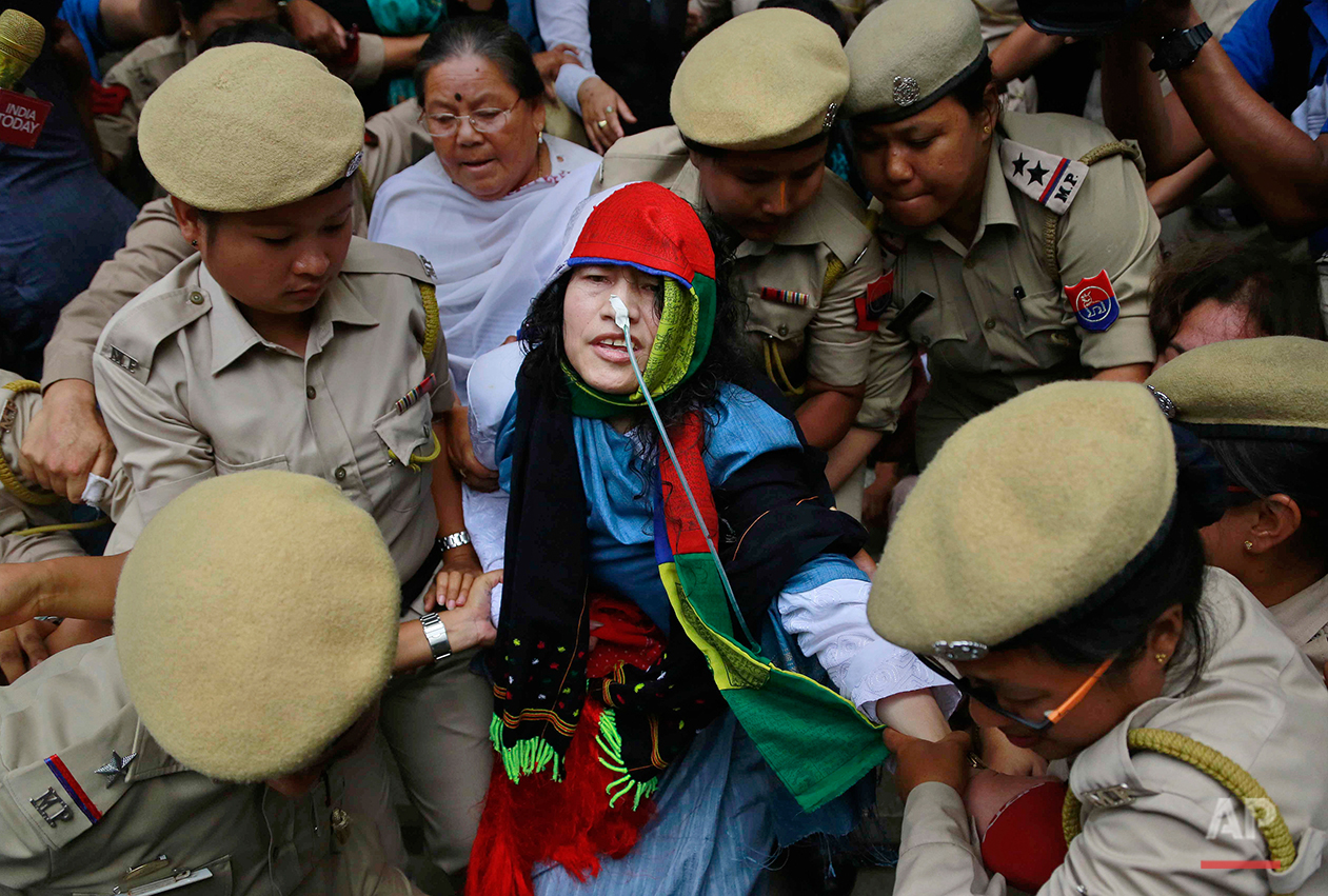 Activist Irom Sharmila is taken back to a hospital after a court appearance in Imphal, in the north-eastern state of Manipur, India, Tuesday, Aug. 9, 2016. The 44-year-old activist who has been on a hunger strike for nearly 16 years to protest against alleged brutality by India's military, is expected to end her fast today. (AP Photo/Anupam Nath)