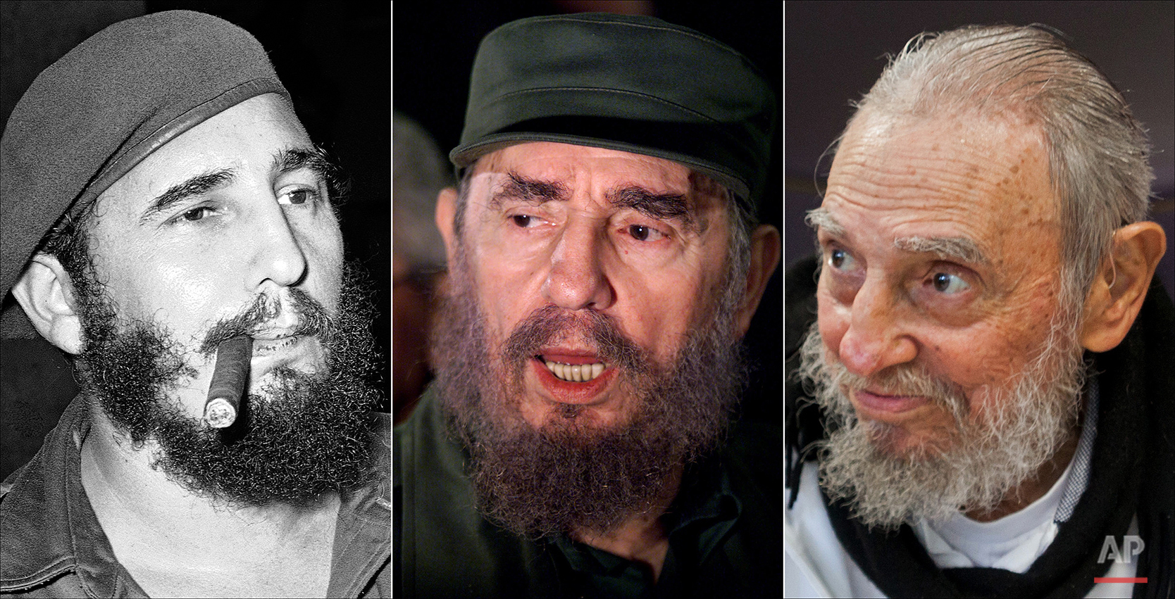 This combo of three file photos shows Fidel Castro, from left; smoking a cigar in Havana, Cuba, April 29, 1961; speaking to the media while on a mission to collect Elian Gonzales in Washington, D.C., April 6, 2000; and at his Havana home on Feb. 13, 2016. The man who nationalized the Cuban economy and controlled virtually every aspect of life on the island celebrates his 90th birthday on Saturday, Aug. 13, 2016, in a far different country than the one he ruled for decades. (AP Photos)