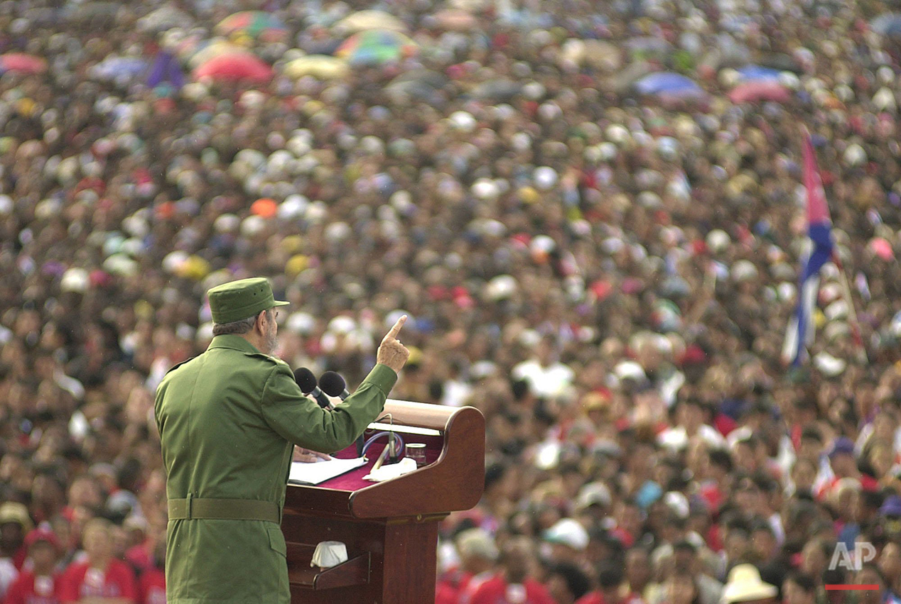 In this June 8, 2002 file photo, Cuban President Fidel Castro delivers a speech during a rally in Santiago, Cuba. (AP Photo/Cristobal Herrera)