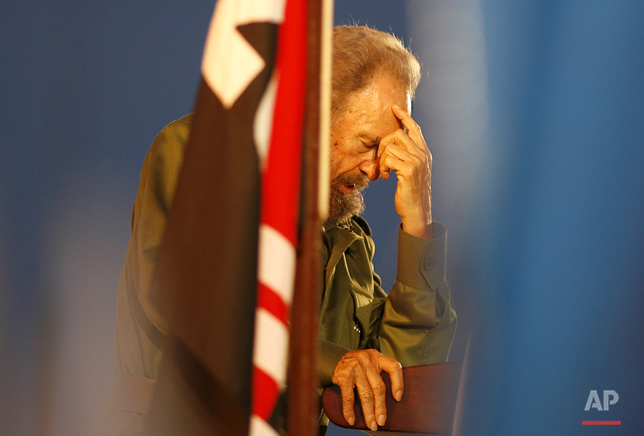 In this July 26, 2006 photo, Cuba's President Fidel Castro pauses as addresses a crowd of Latin American students gathered in Pedernales, in Holguin province, Cuba, for the anniversary of the attack on the Moncada barracks. As Fidel Castro gets ready to celebrate his 90th birthday on Aug. 13, 2016, many Cubans today openly describe themselves as capitalists, and say time has proven that Castro's economic ideas do not work. (AP Photo/Javier Galeano)