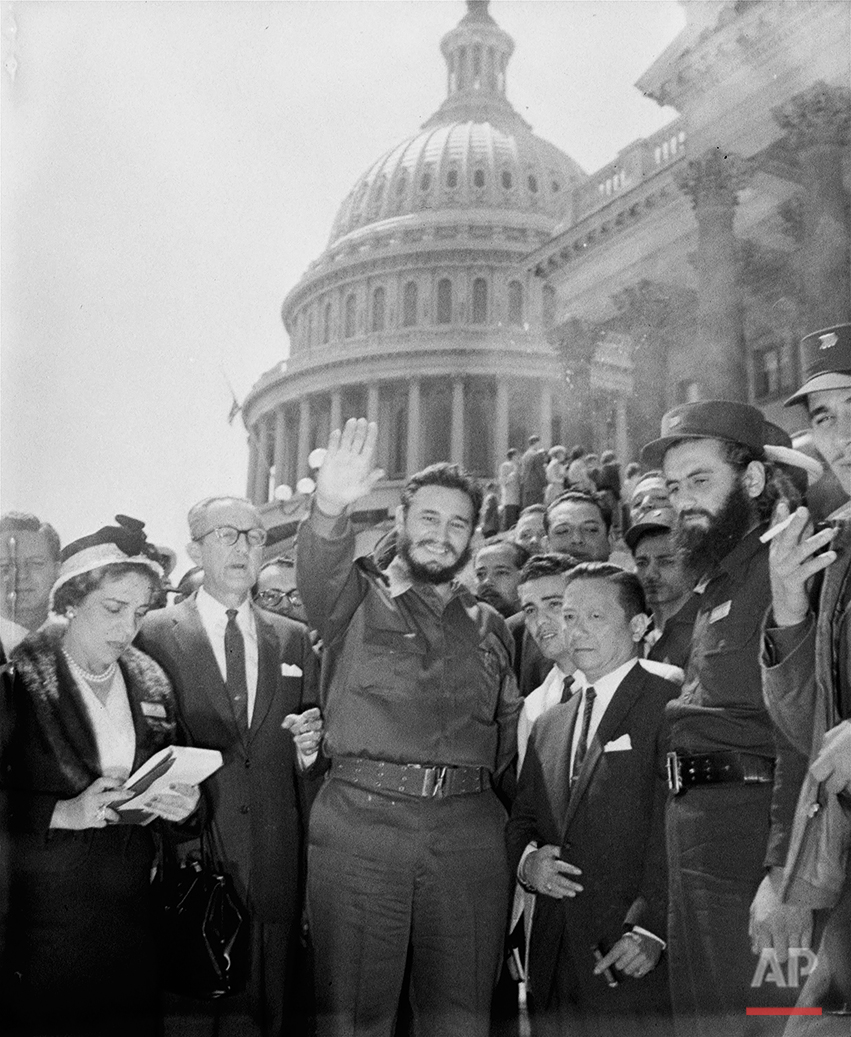 Fidel Castro, fresh from a visit to the Senate Foreign Relations Committee, poses in front of the Capitol. The 32-year-old Cuban Prime Minister paid an unheralded visit to the Capitol April 17, 1959 and chatted with members of the committee. (AP Photo)
