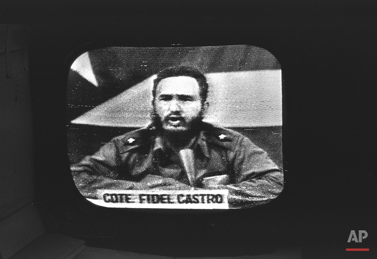 Cuban Prime Minister Fidel Castro replied to President Kennedy's naval blockade over Cuban radio and television, October 23, 1962.  This picture of Castro during his speech was copied from a television monitor in Key West, Florida. To defuse the Cuban missile crisis, President Kennedy promised not to invade the island nation, but newly declassified documents show he later retreated from the pledge, fearing Cuba could become an `invulnerable base.'' The change of heart meant that the U.S.-Soviet understandings that resolved the 1962 crisis were never made permanent. (AP Photo)