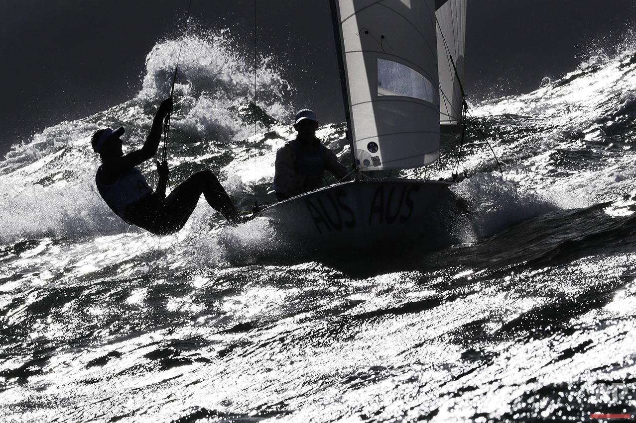 Australia's Will Rian, left, and Mathew Belcher participate in the 470 men race at the 2016 Summer Olympics in Rio de Janeiro, Brazil, Thursday, Aug. 11, 2016. (AP Photo/Bernat Armangue)