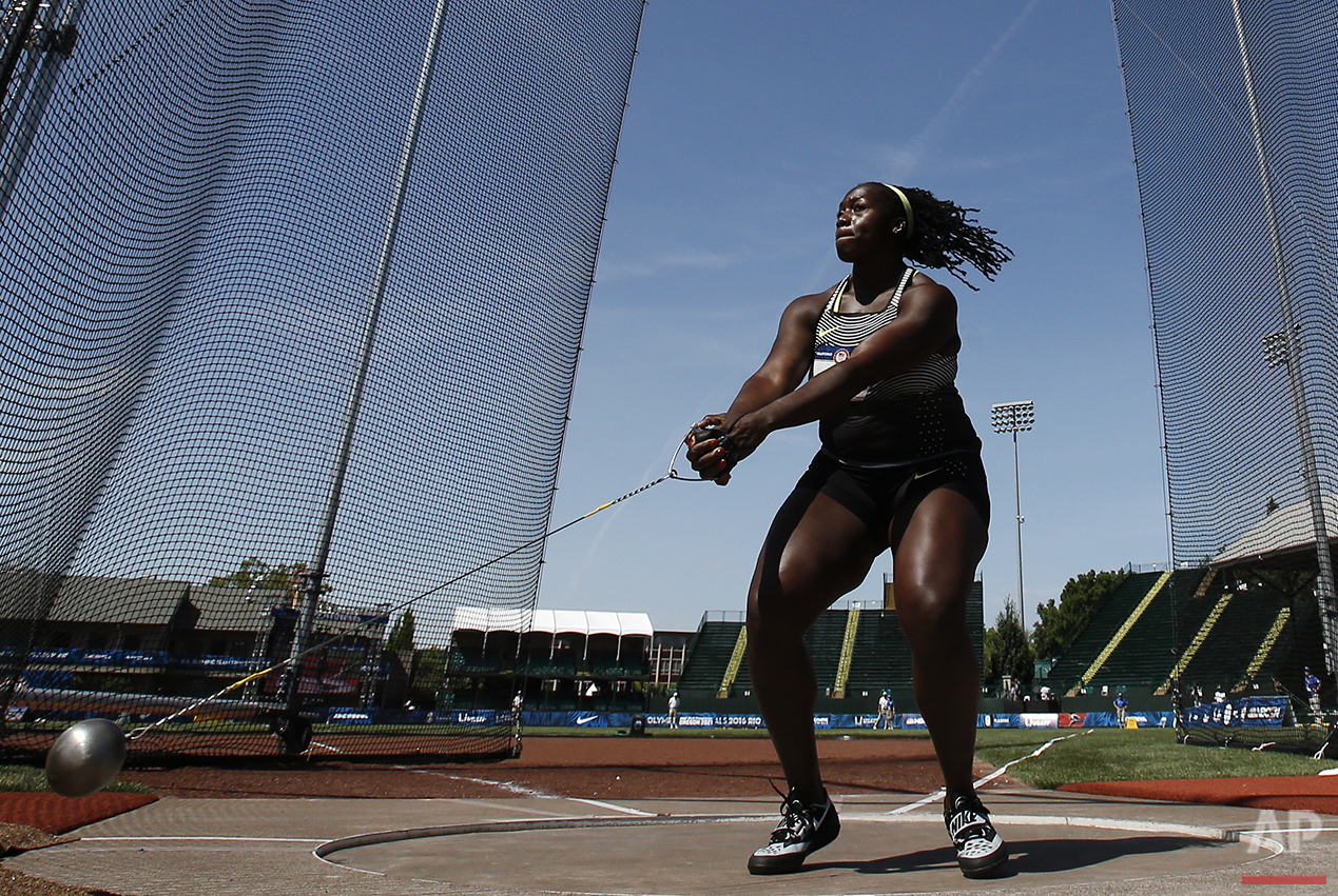 Amber Campbell competes in the women's hammer final at the U.S. Olympic Track and Field Trials, Wednesday, July 6, 2016, in Eugene, Ore. (AP Photo/Matt Slocum)