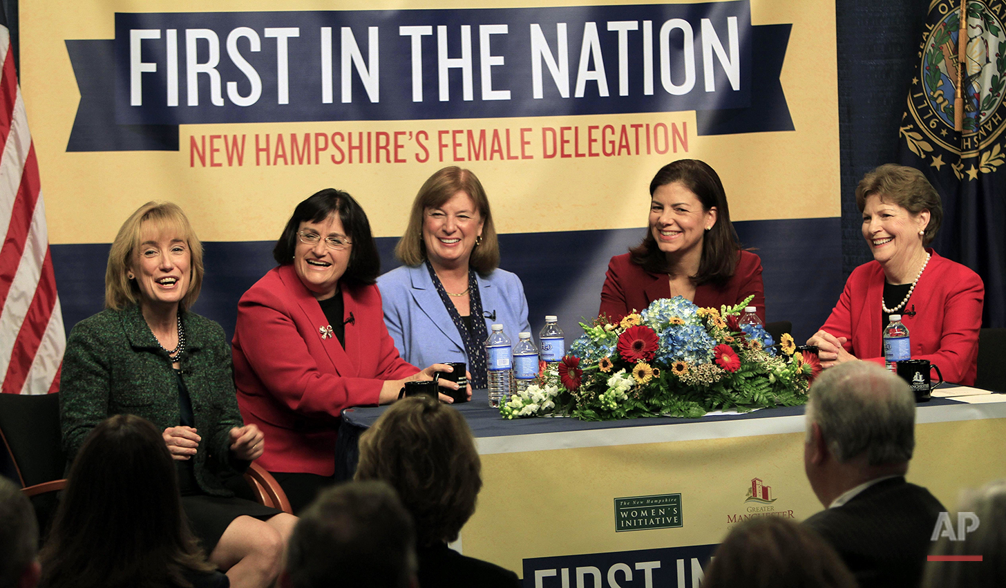 In this Friday Dec. 7, 2012, photo, the five women holding New Hampshire's top political offices, from left, Gov. Maggie Hassan, D-N.H., U.S. Rep. Ann McLane Kuster, D-N.H., Carol Shea-Porter, D-N.H., U.S. Sen. Kelly Ayotte, R-N.H., and U.S. Sen. Jeanne Shaheen, D-N.H., discuss what their lives are like as female politicians at the Institute of Politics at Saint Anselm College in Manchester, N.H. All three northern New England states do better than the national average in electing women to their state Legislatures. (AP Photo/Jim Cole)