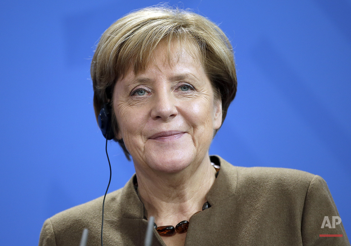German Chancellor Angela Merkel, attends a joint press conference with the Prime Minister of Tunisia, Habib Essid, as part of a meeting at the chancellery in Berlin, Germany, Thursday, Nov. 5, 2015. (AP Photo/Michael Sohn)