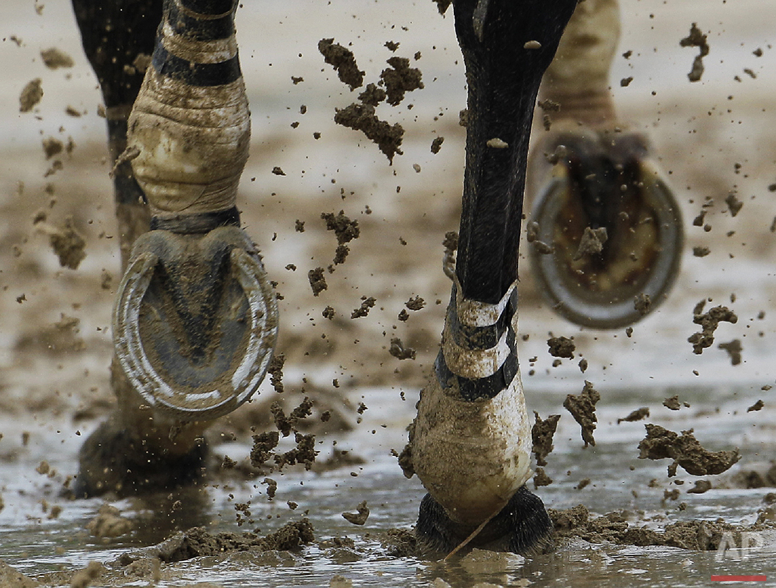A horse runs through some mud during a race before the 136th Kentucky Derby horse race at Churchill Downs, Saturday, May 1, 2010, in Louisville, Ky. (AP Photo/Rob Carr)