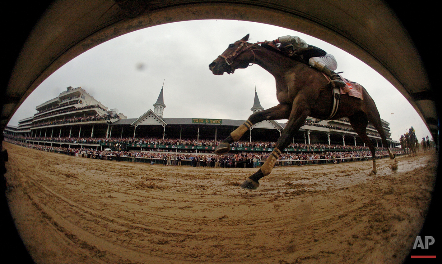Calvin Borel rides Mine That Bird to a victory during the 135th Kentucky Derby horse race at Churchill Downs, Saturday, May 2, 2009, in Louisville, Ky. (AP Photo/John Flavell)