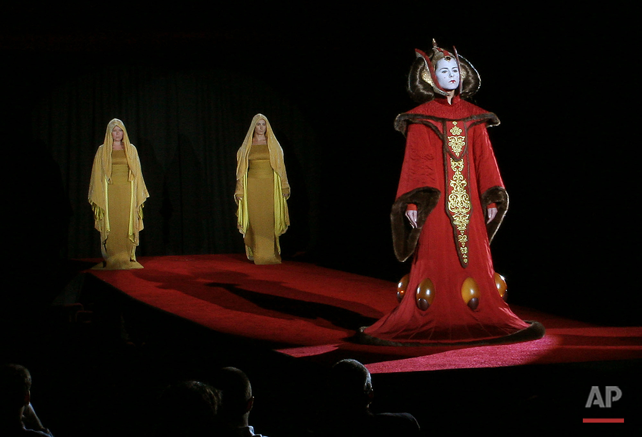 A model sports a Queen Amidala costume from the Star Wars trilogy presented in New York Thursday, Sept. 15, 2005. A series of costumes from the George Lucas movie designed by Trisha Biggars was shown Thursday evening. (AP Photo/Bernadette Tuazon)