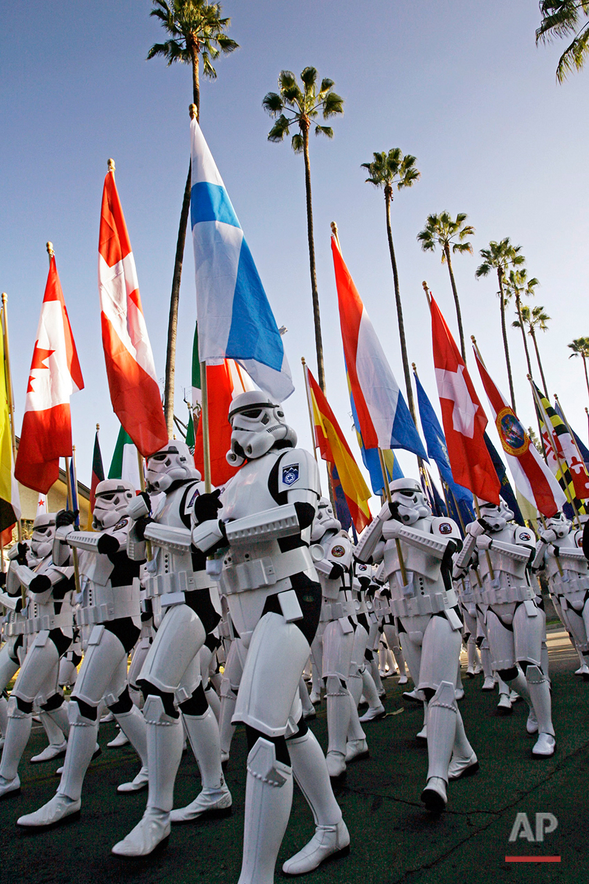 Members of the 501st Legion, a group of International Star Wars fans dressed as storm troopers march in the 118th Tournament of Roses Parade in Pasadena, Calif., Monday, Jan. 1, 2007. (AP Photo/Damian Dovarganes)