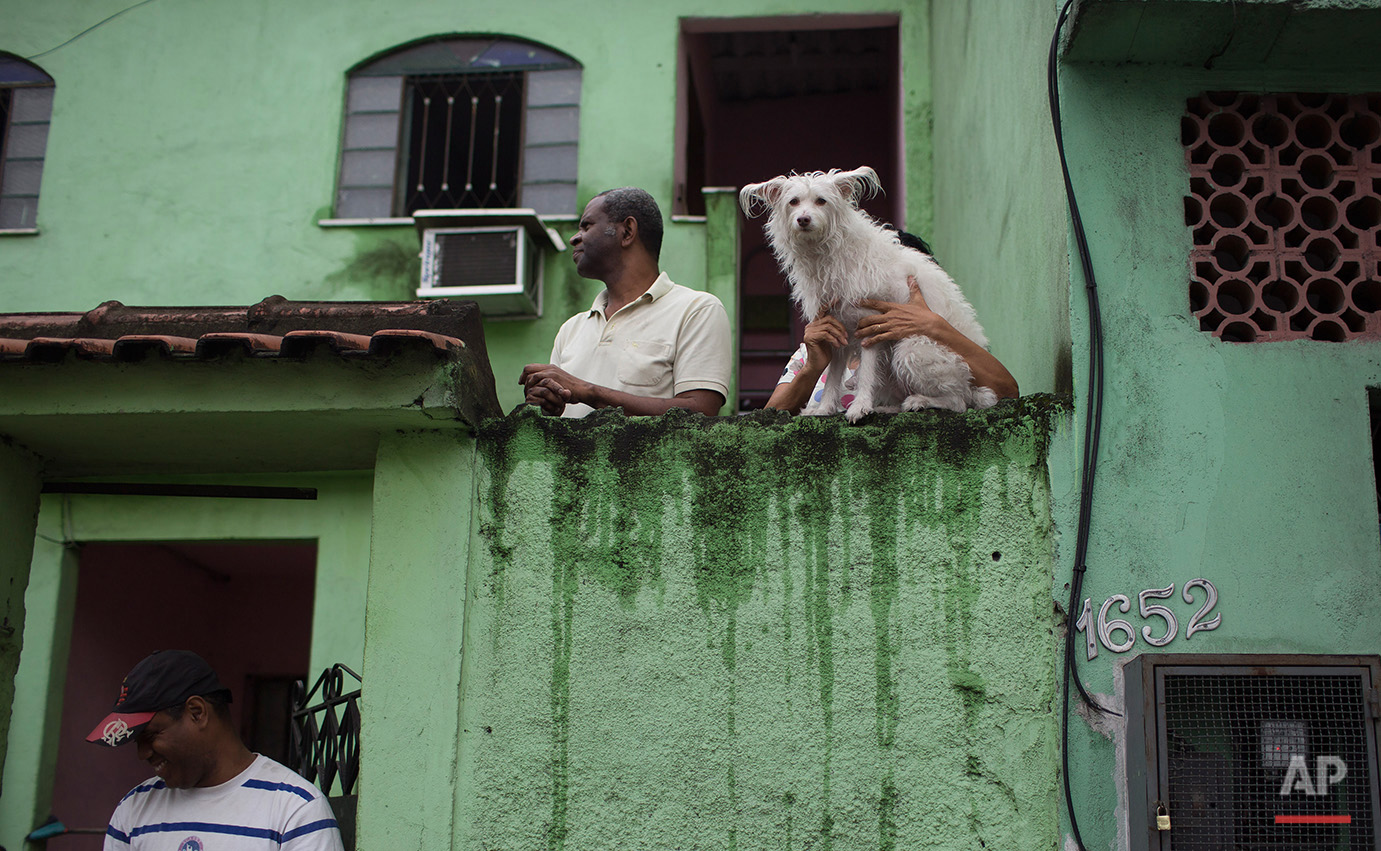 """A woman holds her dog as they look as Brazilian judo gold medalist Rafaela Silva is given a hero's welcome into the Cidade de Deus """"City of God"""" slum in Rio de Janeiro, Brazil, Monday, Aug. 22, 2016. Silva who grew up in the violent, poverty stricken slum, won special mention from IOC president Thomas Bach, saying she's an inspiration across the world."""" (AP Photo/Leo Correa)"""
