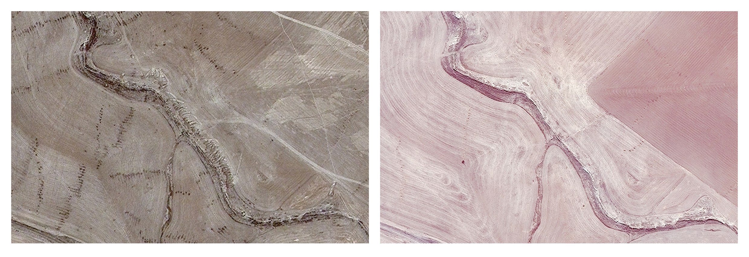 This combination of two satellite images provided by AllSource Analysis shows a suspected mass grave site with tire tracks leading to a ravine, top left, and evidence of digging along the ravine at Badoush Prison in Mosul, Iraq, on July 17, 2014, left, and the site on Nov. 15, 2013, right. An analysis by The Associated Press has found 72 mass graves left behind by Islamic State extremists in Iraq and Syria, and many more are expected to be discovered as the group loses territory. (AllSource Analysis via AP)