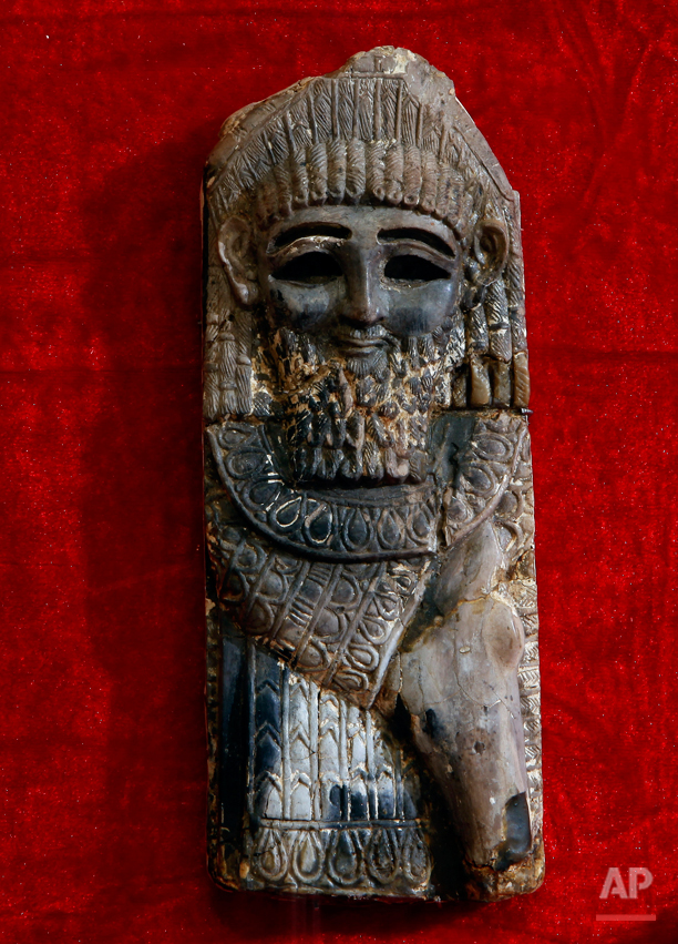 In this Wednesday, April 3, 2013 photo, a statue from the Kingdom of Nimrod from the ninth century B.C. is displayed at the Iraqi National Museum in Baghdad, Iraq. Ten years after Iraqís national museum was looted and smashed by frenzied thieves during the U.S.-led invasion in 2003 to topple Saddam Hussein, itís still far from ready for a public re-opening. Work to overcome decades of neglect and the destruction of war has been hindered by power struggles, poorly-skilled staff and the persistent violence plaguing the country, said Bahaa Mayah, Iraqís most senior antiquities official. (AP Photo/Hadi Mizban)