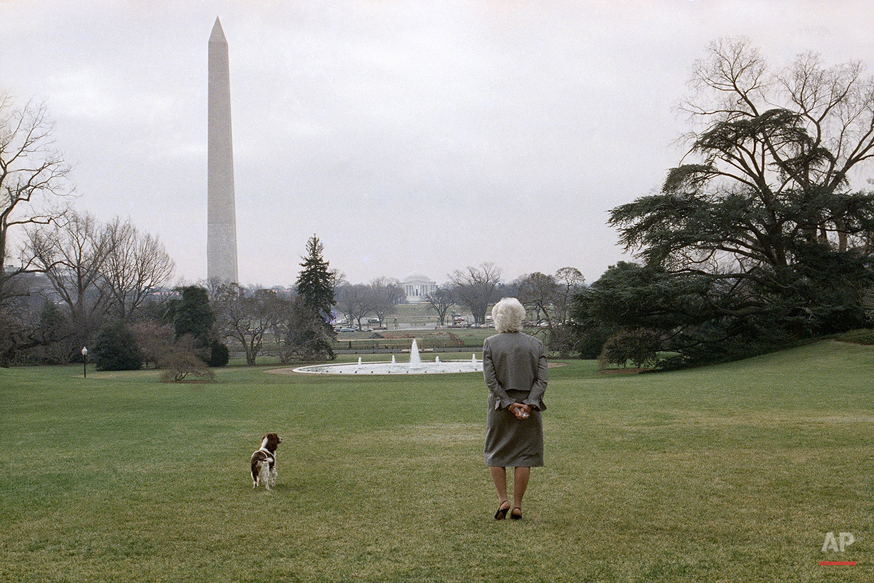 On a sunny but cold day first lady Barbara Bush strolls on the White House South Lawn in Washington with the family dog, Millie, Feb. 8, 1989. The Washington Monument and the Jefferson Memorial can be seen in the background. (AP Photo/Barry Thumma)