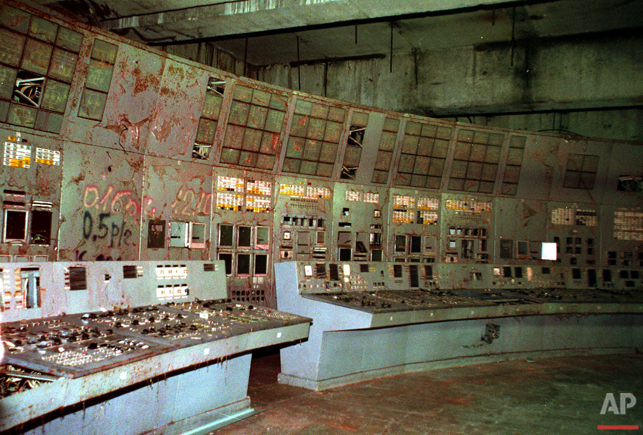 In this Nov. 10, 2000, photo, the shattered remains of the control room for Reactor No. 4 at the Chernobyl nuclear power plant, Ukraine. (AP Photo/Efrem Lukatsky)