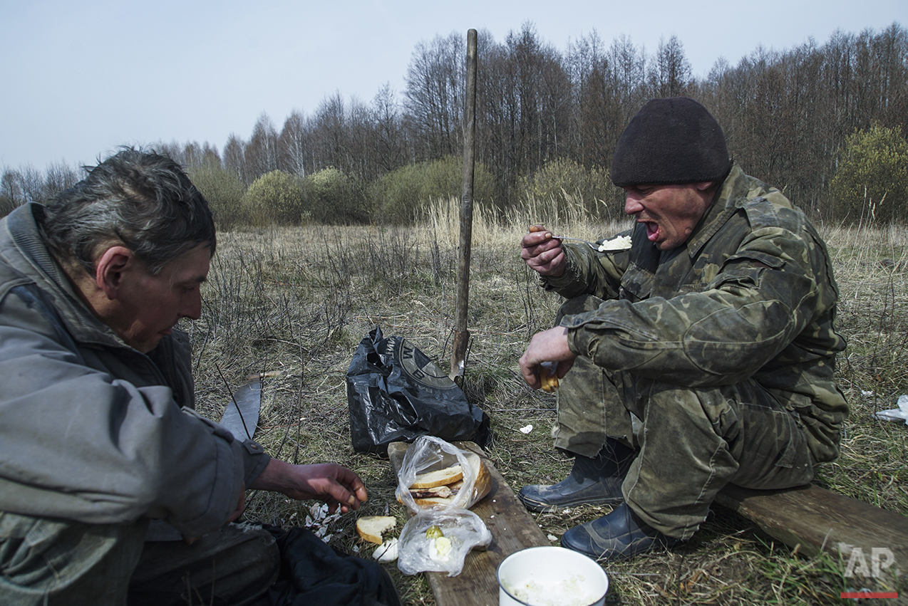 In this photo taken on Tuesday, April  5, 2016, former fireman Volodymir, 50, right, and his friend Andryi, 44, have lunch with food placed on a piece of wood taken from a local forest, believed still to be contaminated by fallout from the world's worst nuclear accident, near Zalyshany, 53 km (32 miles) southwest of the destroyed reactor of the Chernobyl plant, Ukraine. After the April 26, 1986 explosion and fire spewed radioactive fallout over much of Ukraine, the most heavily affected areas were classified into four zones. In 2012, the government halted the monitoring of radioactive contamination of food and soil in Zone 4, Zalyshany. (AP Photo/Mstyslav Chernov)