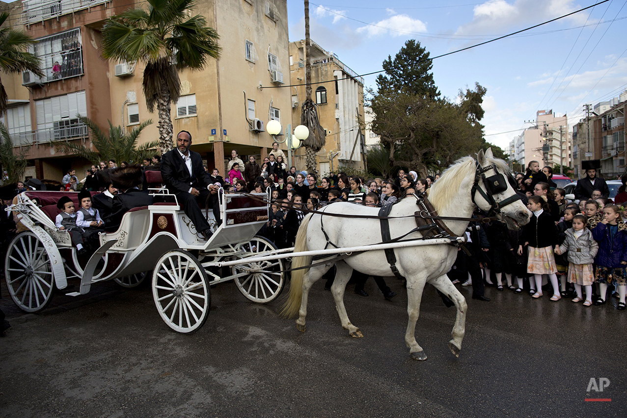 Ultra-Orthodox Jews ride a horse-drawn carriage during the wedding of the grandson of the Rabbi of the Tzanz Hasidic dynasty community, in Netanya, Israel, Tuesday, March 15, 2016. (AP Photo/Oded Balilty)