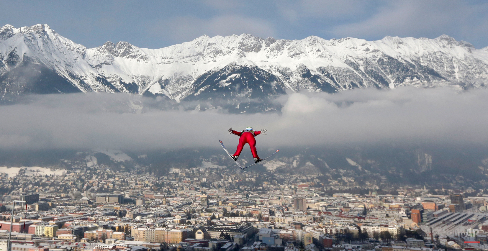 In this Jan. 3, 2015 photo, Norway's Anders Jacobsen soars during the trial jump at the third stage of the four hills ski jumping tournament in Innsbruck, Austria. (AP Photo/Matthias Schrader)