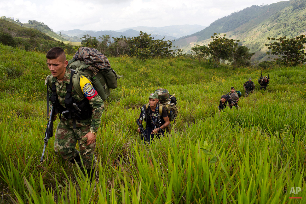 In this Jan. 6, 2016 photo, members of the 36th Front of the Revolutionary Armed Forces of Colombia or FARC, trek to a new camp in Antioquia state, in the northwest Andes of Colombia. Big guerrilla camps are a thing of the past, the rebels now move in smaller groups. The 36th Front is comprised of 22 rank and file fighters, 4 commanders and 2 dogs. (AP Photo/Rodrigo Abd)