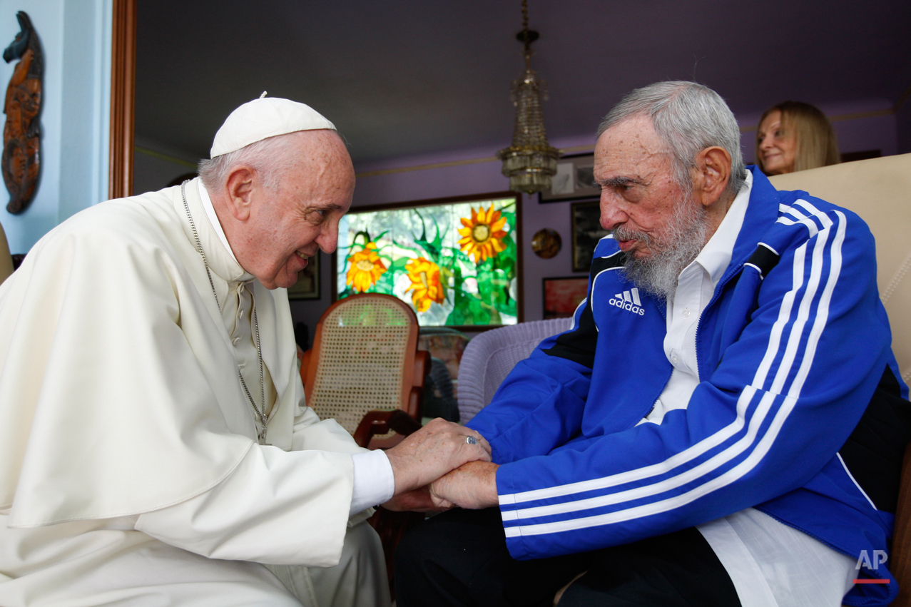 Pope Francis meets Fidel Castro in Havana, Cuba, Sunday, Sept. 20, 2015. The Vatican described the 40-minute meeting at Castro's residence as informal and familial, with an exchange of books. (AP Photo/Alex Castro)